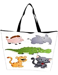 Snoogg Cute Animals Vectors Waterproof Bag Made Of High Strength Nylon