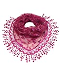 Hand Embroidered Lace Small Vine Flowers Sequins Triangle Scarf - Magenta Pink