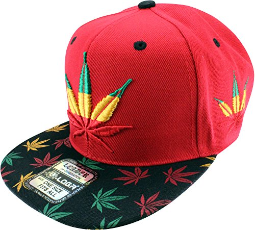 Enimay-Weed-Marijuana-Pot-Leaf-Snapback-Hat-Rasta-Red-Big-Small-Leaf