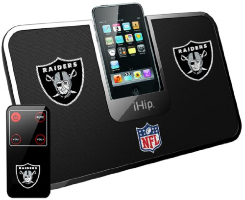 Ihip Official Nfl - Oakland Raiders - Portable Idock Stereo Speaker With Wireless Remote Nfv5000Oar