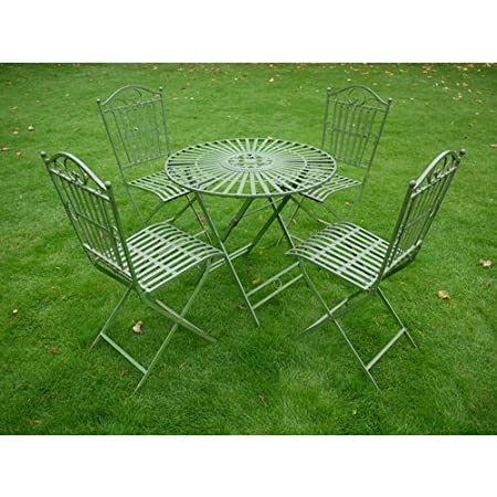 Metal Antique Green Bistro Table & Chair Set Patio Furniture Fold Flat For easy Storage