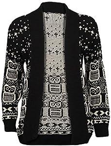 New Women Ladies Christmas Owl Print Knitted Jumper Long Sleeve Xmas Cardigans Sweater Uk Size 8-26 (l/xl 16-18, 02black Cadigan)