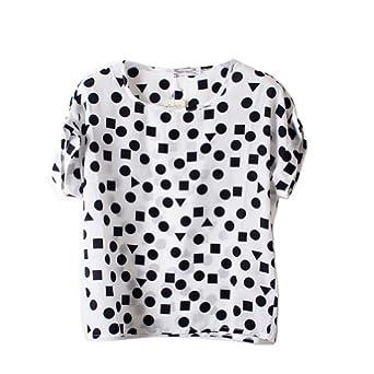 VOBAGA Women's Geometric White Print Short Sleeve Chiffon Top T-shirt Blouses S