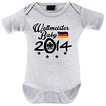 Mikalino Babybody Weltmeister Baby 2014 kurzarm, Grösse:56;Farbe:heather