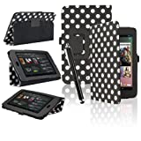 eLifeStore® Google Nexus 7 Tablet Case Polka Dots Integrated Stand Case Cover with Magnetic Sleep / Wake Sensor, Includes Bonus Screen Protector & Stylus Pen (Black and White Polka Dot)