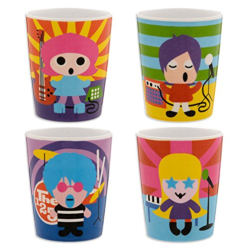 French Bull - BPA Free Kids Cups - 6 ounce Melamine Kids Juice Cup Set - Rock Stars, Set of 4