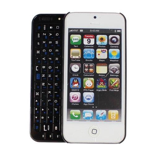 minisuitApple iPhone 5 スライディング キーボード ケース カバー 特殊ラバー加工 ブラック
