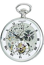 Charles-Hubert, Paris 3971-W Premium Collection Analog Display Mechanical Hand Wind Pocket Watch