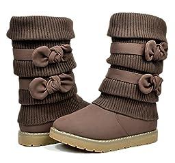 Dream Pairs KLOVE Girls Knit Sweater Winter Fur Kids Boots Brown Size 9