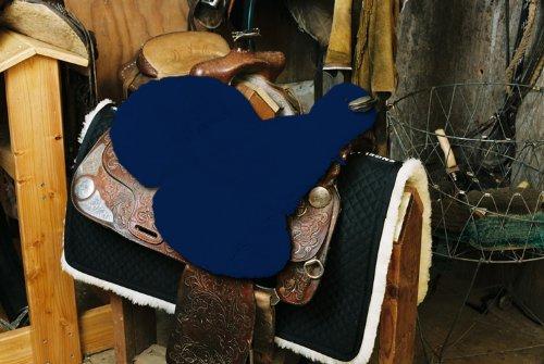 Engel Lammfell Sattelsitzbezug western Farbe marineblau (Sabez 3, mit Hornausschnitt / Horndurchlass)