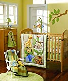 Green Cartoon zoo 7 pcs crib set Baby Bedding Set Crib Bedding Set Nursery Crib Bumper bedding Fitted Sheet