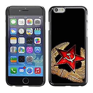 Omega Covers - Snap on Hard Back Case Cover Shell FOR Apple Iphone 6 Plus / 6S Plus ( 5.5 ) - Black Red Medal Star Cap Russia