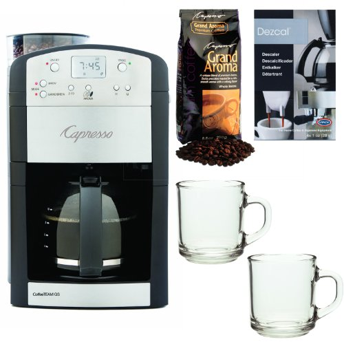 Capresso 464.05 CoffeeTeam GS 10-Cup Digital Coffeemaker w/ Conical Burr Grinder + Grand Aroma Whole Bean Coffee (8.8oz) Swiss Roast Regular + Accessory Kit