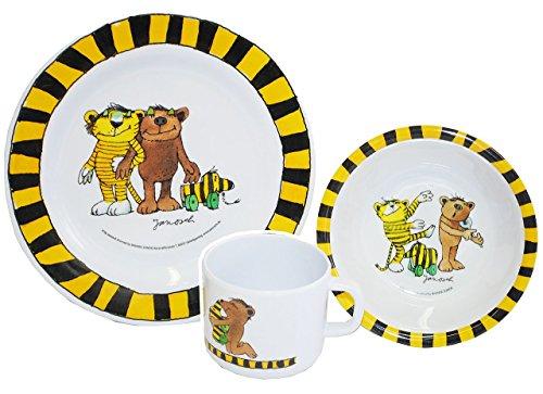 """3 tlg. Geschirrset: """" Janosch / Tigerente - Tiger & Bär """"- Melamin Set - Henkelbecher + Teller + Müslischale - Kindergeschirr - Frühstücksset / für Jungen Mädchen - Frosch / Kastenfrosch"""