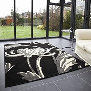 Retro Classics Loretta Black / Grey Contemporary Rug/Runner Rug Size: 150cm x 80cm (4 ft 11 in x 2 ft 7.5 in) by Flair Rugs