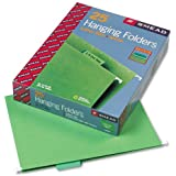 Smead 64061 Hanging File Folders, 1/5 Tab, 11 Point Stock, Letter, Bright Green, 25/Box