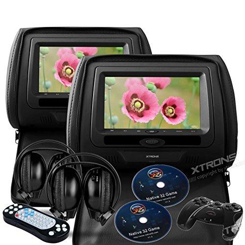 "Xtrons® Black 2X Twin Car Headrest Dvd Player Usb Sd Slot 7"" Hd Screen Game Ir Headsets"