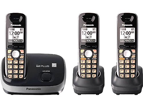 Panasonic KX-TG6513B DECT 6.0 PLUS Expandable Cordless Phone System, Black, 3 Handsets (Discontinued By Manufacturer) (Panasonic Dect 6 Plus compare prices)