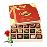 Valentine Chocholik's Belgium Chocolates - Luscious Treat Of Pralines Chocolates With Red Rose