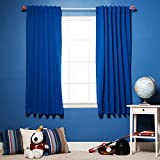 """Best Home Fashion Royal Blue Premium Solid Thermal Insulated Back Tab Blackout Curtain 52""""W x 63""""L - 1 Pair"""