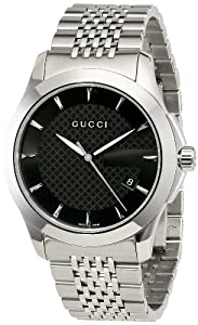 Gucci Men's YA126402 G-Timeless Medium Black Dial Stainless-Steel Watch