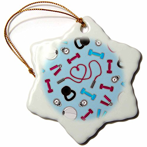 3dRose orn_185464_1 Fitness Love Personal Trainer Pattern Blue Snowflake Ornament, Porcelain, 3-Inch