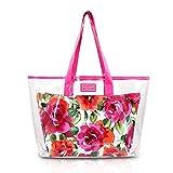Basico Womens Cosmetic Bag Set,Tote Bag Set **Vary Size& Styles** (2 Pc Tote Bag Set Pink)