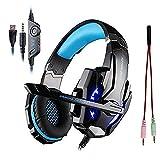 KOTION EACH ゲーミング ヘッドセット ヘッドホン ゲーム用 7.1chサラウンド PC PS4 スマホ G9000 ブラック ブルー