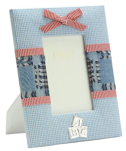 Addison Ross, Baby Enamel Photo Frame, 4x6 , Blue Fabric, 4 x 6 Inches - 1