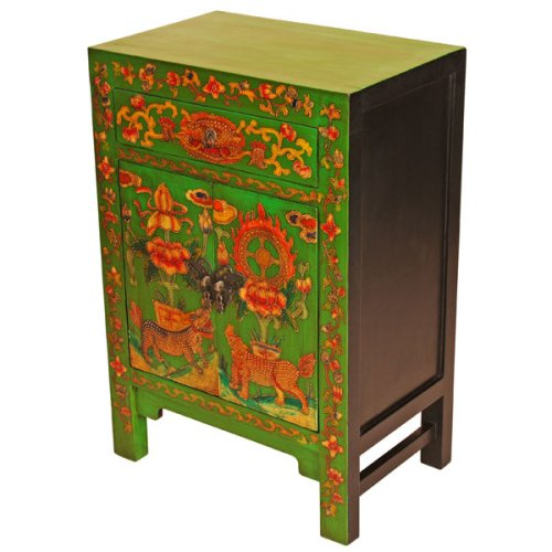 Cheap EXP Handmade Asian furniture-34″ Green & Black Wood Storage Cabinet / End Table With Tibetan Design (B001B14KYO)