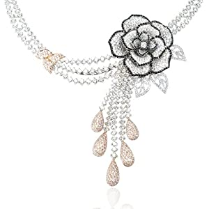 Diamond 18k Two Tone Gold Flower Necklace