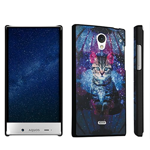 DuroCase Sharp AQUOS Crystal 306SH One-Piece Snap On Hard Case Black - (Space Cat) (Sharp Aquos Phone Case Cat compare prices)