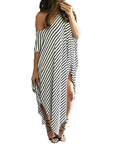 ZANZEA-Womens-One-Off-Shoulder-Striped-Irregular-Long-Maxi-Dress-Kaftan-Dress