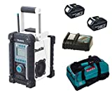 MAKITA 18V LXT BMR100W BMR100WZ BMR100WRFE JOB SITE RADIO, 2 x BL1830 BATTERIES, DC18RC CHARGER AND LXT400 BAG - PF TRADE
