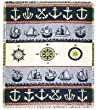 "Nautical Theme Anchors Ships Compass Afghan Throw Blanket 48"" x 60"""