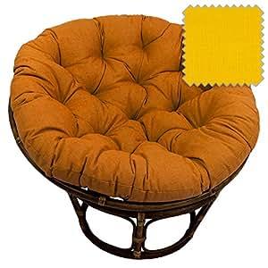 42 Inch Bali Rattan Papasan Chair With Cushion Solid Outdoor F