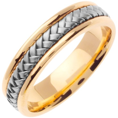 14K Two Tone Gold Braided Basket Weave Women'S Wedding Band (5.5Mm) Size-3
