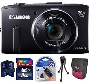 Canon PowerShot SX280 HS 12.1 MP CMOS Digital Camera (Black) + Transcend 8GB Kit - Brand New USA Warranty