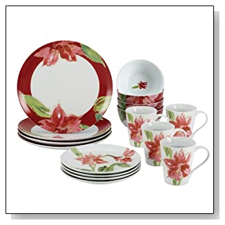 Paula Deen Signature Dinnerware Amaryllis Holiday 16-Piece Dinnerware Set