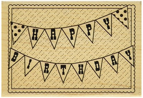 Hampton Art Hf Happy Birthday Flag Wood Rubber Stamp - 1