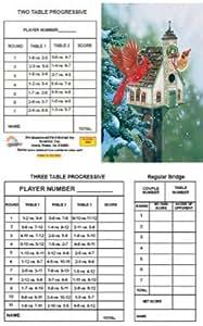 Bridge Tallies - Cardinals Welcome - (12 Pack) 2 & 3 Table Progessive