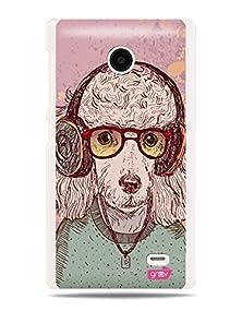 "buy Grüv Premium Case - ""Retro Funky Urban Music Headphones Dog Anthromorphic"" Design - Best Quality Designer Print On White Hard Cover - For Nokia X A110 Rm-980"