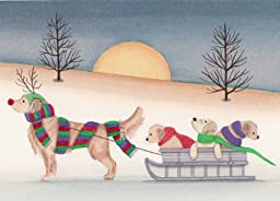 12 Christmas cards: Golden retriever family going for sled ride / Lynch folk art