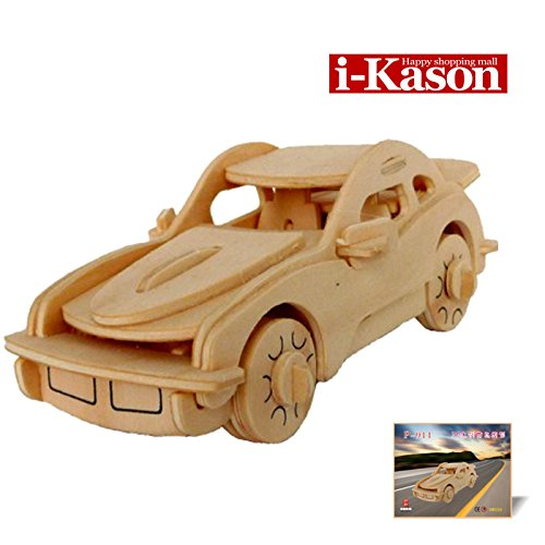 Authentic High Quality i-Kason® New Favorable Imaginative DIY 3D Simulation Model Wooden Puzzle Kit for Children and Adults Artistic Wooden Toys for Children - P911 Porsche