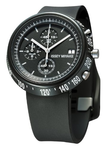 Issey Miyake Trapazoid Unisex Quartz Watch with Black Dial Chronograph Display and Black PU Strap SILAZ004