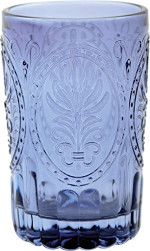 THE WANDERER COLLECTION Blue Embossed GLASS TUMBLER By Creative Tops