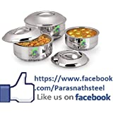 Parasnath Stainless Steel Chapati Box/Casserole Set/Bread Container /hot Pot-1000 ML+1400 ML +1800 ML PACK OF 3