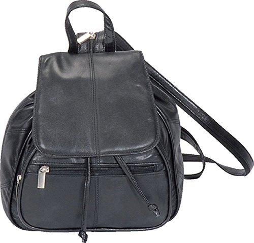 Rucksack Tasche Leder Minirucksack Cityrucksack Damen Damentasche Schwarz NEU