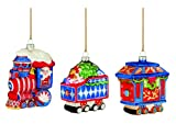 Marquis by Waterford Train Ornaments, Set of 3, Red