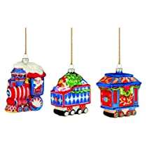 Marquis by Waterford Train Ornaments Set of 3 Red